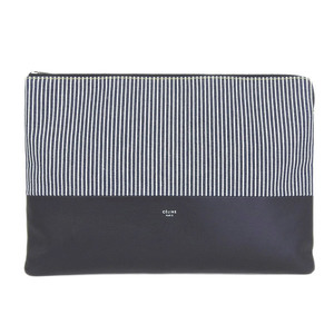 Genuine CELINE Celine LARGE CLUTCH flat pouch leather canvas striped blue navy black 107842 ARO bag