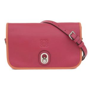 Genuine LOEWE Loewe Bai Color Inness Shoulder Bag Leather Red Orange