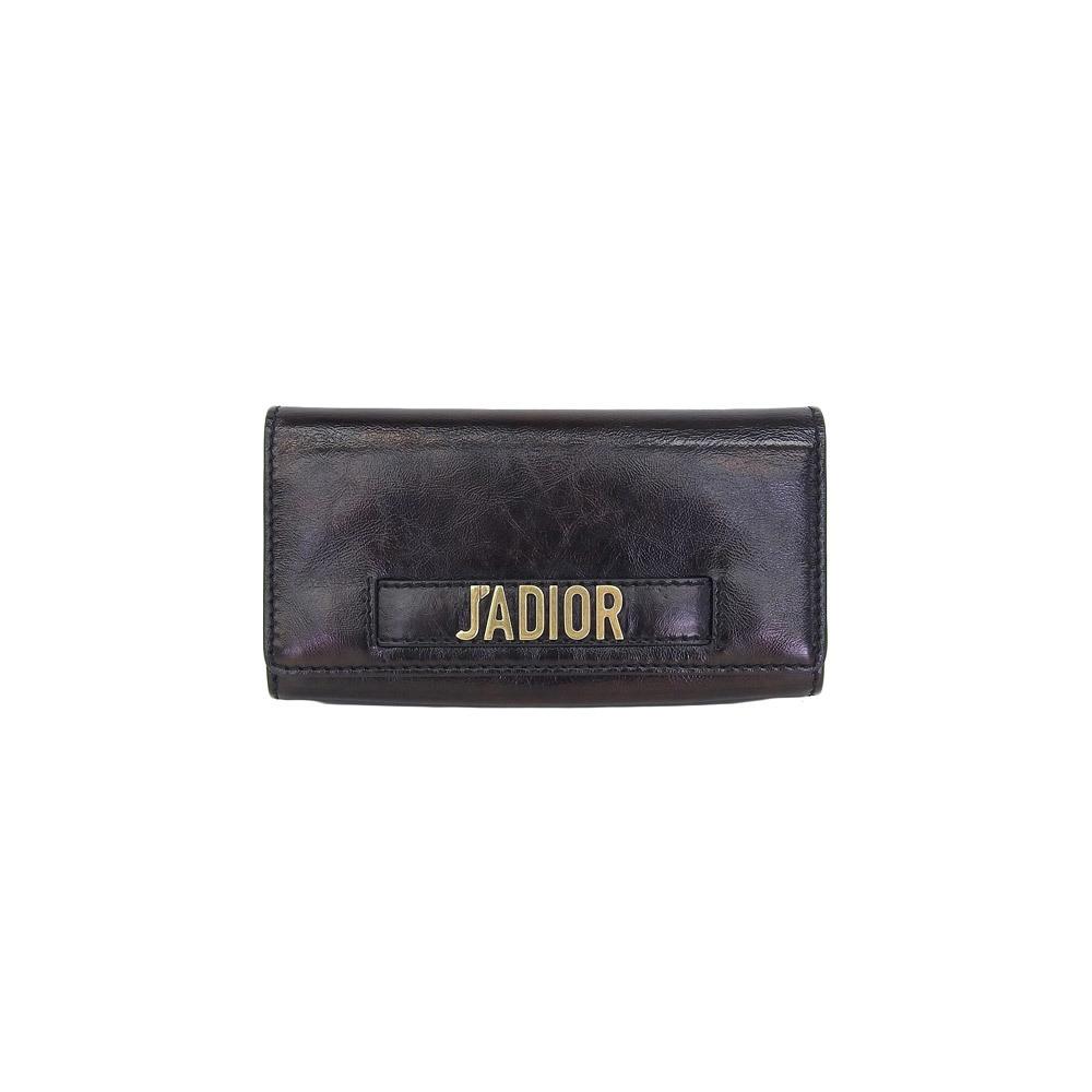 Genuine CHRISTIAN DIOR Dior Ja Diol chain wallet long black leather