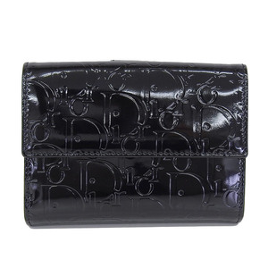 Genuine CHRISTIAN DIOR Dior Patent W Hook Folded Wallet Compact Leather Black