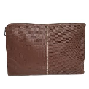 BOTTEGA VENETA Clutch Bag Mesh Leather Brown