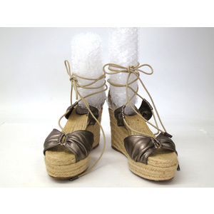 HERMES WEDGE SOLE SANDAL LATHER/HEMP BRONZE LADEIS 37