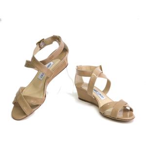 JIMMY CHOO Strap Sandal Enamel Beige 35.5