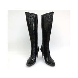 GUGLIELMO ROTTA LONG BOOTS ENAMEL BLACK LADIES 36