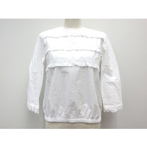 Spick and Span SEMI LONG SLEEVE BLOUSE COTTON WHITE LADIES