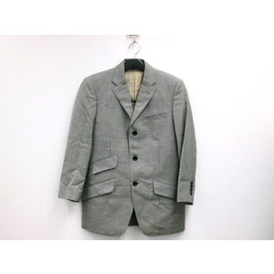 MENS BIGI Houndstooth Pattern Jacket Wool Gray S Mens