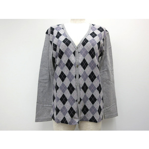 MENS BIGI COTTON CARDIGAN DIAMOND PATTERN GREY/BLK/PURPLE 2