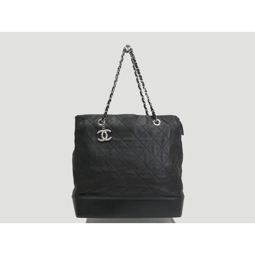 Chanel Chain Shoulder Bag Lamb Skin Black