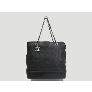 Chanel Chain Shoulder Bag Lamb Skin Black
