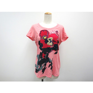 ディー・ケイ・エヌ・ワイ(DKNY) コットン半袖Tシャツ スパンコール フラワー レッド レディース P トップス