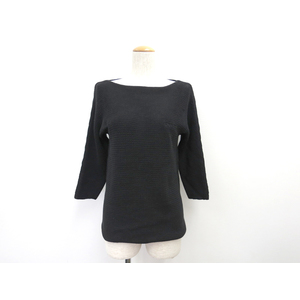 DKNY Semi Long Sleeves Sweater Cotton Black Ladies P/S