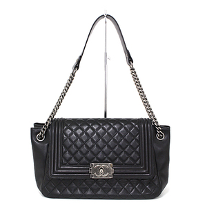 Chanel CHANEL Boy Chain Shoulder Bag Lambskin Black / Antique Silver Hardware Seal Seals Coco Mark Quilting One