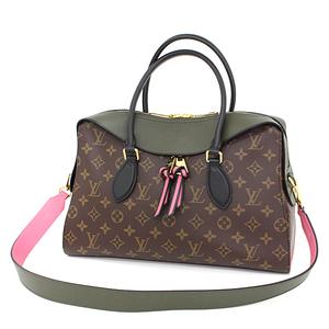 Louis Vuitton LOUIS VUITTON TUILLEY Tote Monogram / Khaki Pink Black Canvas Leather M41455 Handbag Shoulder Bag