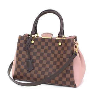 Louis Vuitton LOUIS VUITTON Brittany Magnolia Damier / Canvas Leather N41674 Brown Pink Handbag Shoulder Bag