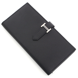 HERMES Bearnsfure foldable wallet black × silver metal fittings Vaud Epson □ P stamp (made in 2012) A rank