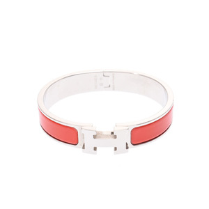Hermes click ash PM red SV ladies' men's bracelet B rank HERMES second hand silver storage