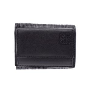Loewe compact wallet black ladies men's calf unused LOEWE second hand silver storage