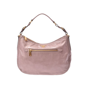 Prada semi-shoulder bag pink beige type GP metal fittings ladies leather A rank PRADA second hand silver storage