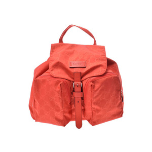Gucci Backpack GG Pattern Orange Women's Men's Nylon AB Rank GUCCI Used Ginza