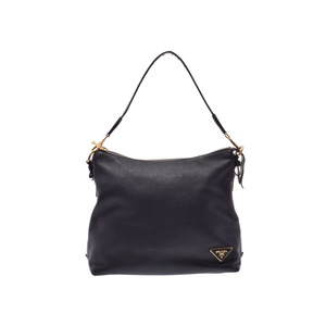 Prada semi-shoulder bag black GP metal fittings BR 5012 Ladies leather B rank PRADA GALA second hand silver storage