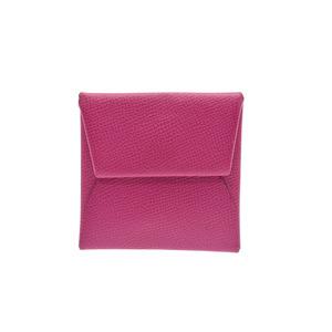 Hermès Bastia Rose Purple A Engraved Ladies Men's Epson Coin Purses Case AB Rank HERMES Box Used Ginza