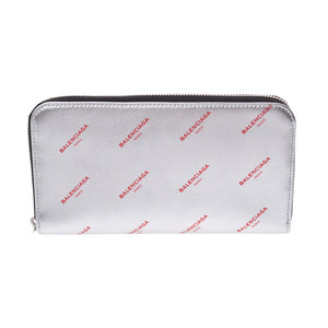 Balenciaga Continental Zip All Over Silver Logo Ladies' Leather Mens Purse Unused Mint BALENCIAGA Used Ginza