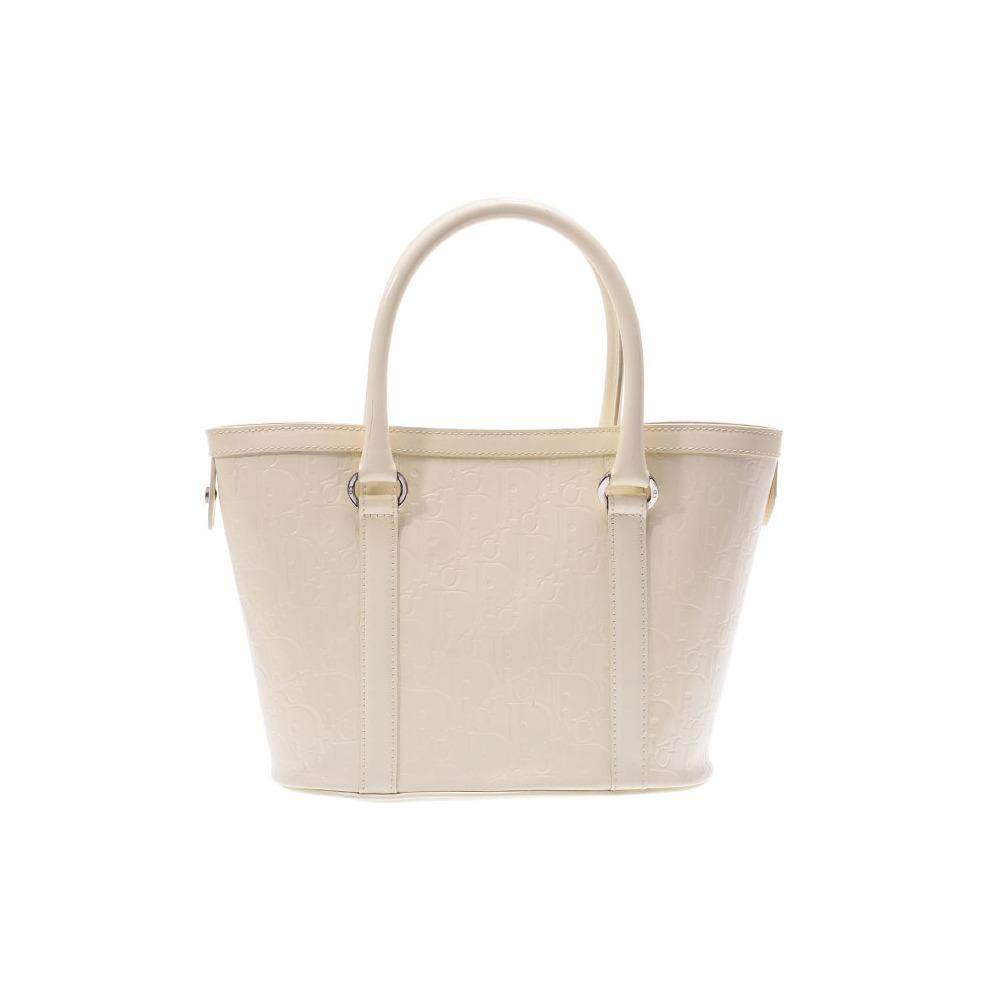Dior Tote Bag Logogram White Lady's Enamel B Rank CHRISTIAN DIOR Used Ginza