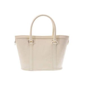 Dior Tote Bag Logogram White Lady's Enamel B Rank CHRISTIAN DIOR Used Ginza