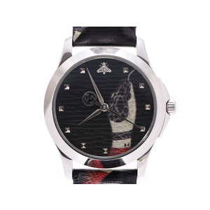 Gucci G Timeless snake / black letter board 126.4 Men's SS leather quartz wristwatch AB rank GUCCI box Gala Silver store