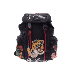 Gucci embroidery backpack tiger black men's nylon A rank beautiful goods GUCCI
