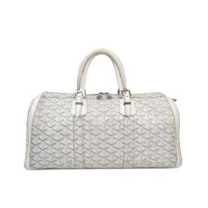 GOYARD Croisiere 35 Boston Bag Canvas/Leather White