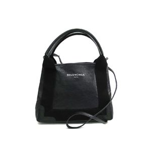 Balenciaga Navy Cabas XS 390346 Women's Leather Handbag Black
