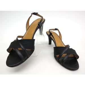 BALLY BACK STRAP PUMPS LEATHER/CANVAS BLACK 38
