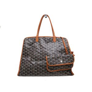 GOYARD Hardy PM Tote Bag Canvas/Leather Black/Brown