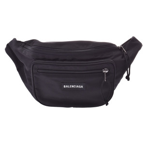 Balenciaga Explorer Belt Bag Black Men's Women's Nylon Body AB Rank BALENCIAGA Used Ginza