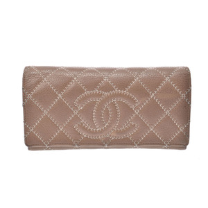 Chanel Matrasse zipper long wallet Coco mark stitch beige type SV metal fittings ladies leather B rank CHANEL box second hand silver storage
