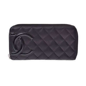 Chanel Cambon Line Round Zipper Long Purse Black SV Hardware Women's Lambskin AB Rank CHANEL Used Ginza