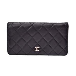 Chanel Matrasse zipper wallet black SV metal fittings ladies lambskin B rank CHANEL galler second hand silver storage