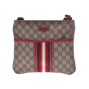 Gucci shoulder bag GG Supreme beige type / red ladies PVC new same beauty item GUCCI second hand silver storage
