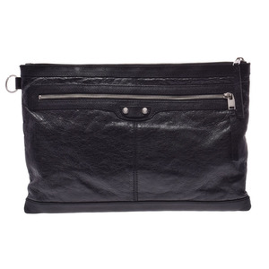 Balenciaga clutch bag clip black men's lady's calf A rank 美 品 BALENCIAGA second hand silver storage