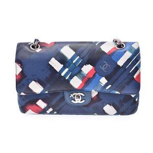 Chanel airline chain shoulder bag blue ladies calf A rank CHANEL galler second hand silver storage