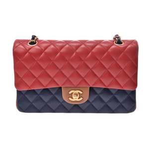Chanel Matrasse chain shoulder bag tricolor red / navy blue beige type G metal fittings ladies lambskin A rank beautiful goods CHANEL box secondhand silver ken