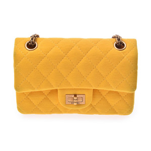 シャネル(Chanel) シャネル 2.55 チェーンショルダーバッグ 黄 レディース コットン ABランク CHANEL ギャラ 中古 銀蔵