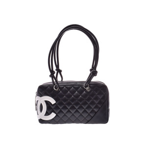 Chanel Cambonline Bowling Bag Black / White Ladies Lambskin AB Rank CHANEL Galler Used Ginza