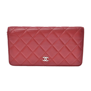 Chanel Matrasse Fastener wallet red SV metal fittings ladies lambskin AB rank CHANEL second hand silver storage