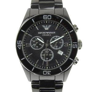 Real ARMANI Armani Ceramica Chronograph Men's Quartz Watch Black Arabic dial AR-1421