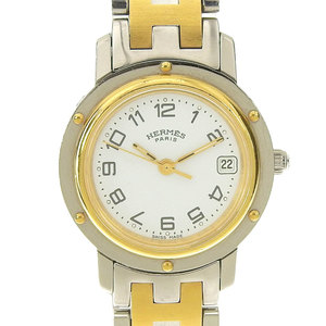 Real HERMES Hermes Clipper Women's Quartz Wrist Watch with White Dial CL 4.220