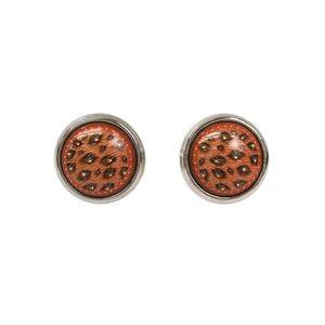 HERMES Enamel Earrings Cloisonne/Palladium Pinkish Beige/Brown