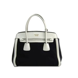 PRADA Hand bag Canvas/Leather Black/White
