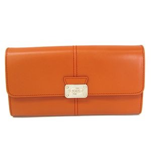 TODS Bifold Wallet Calfskin Orange Brown